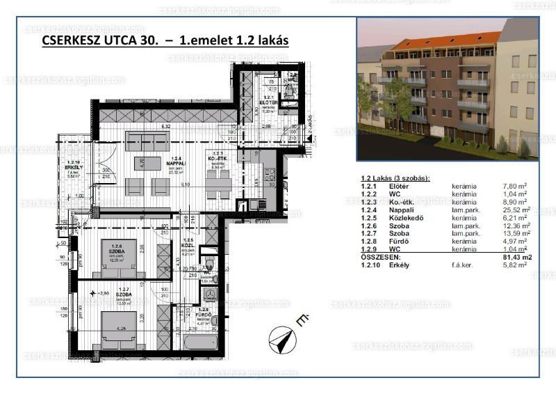 Cserkesz Lakóház - 3 szoba erkéllyel
