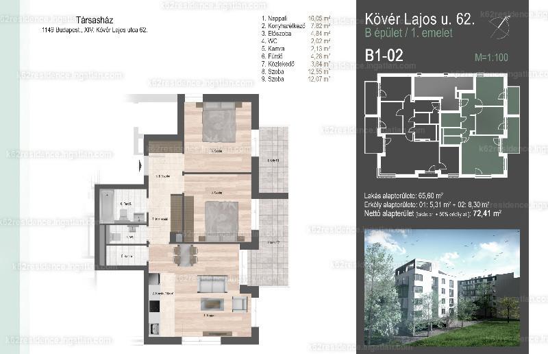 K62 Residence Zugló - 3 szoba erkéllyel