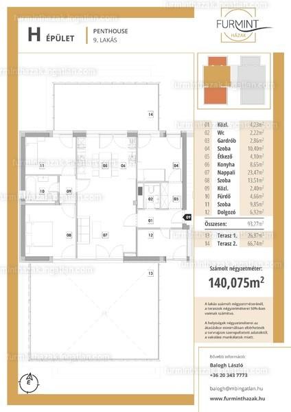 Furmintházak - 5 szoba erkéllyel