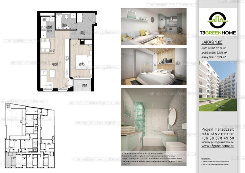T3 Green Home - 2 szoba erkéllyel