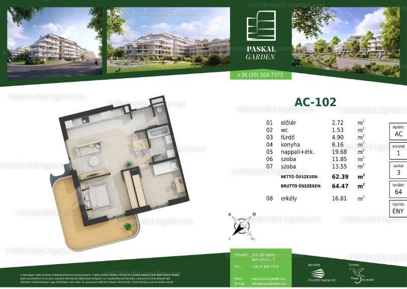 Paskal Garden - 3 szoba erkéllyel