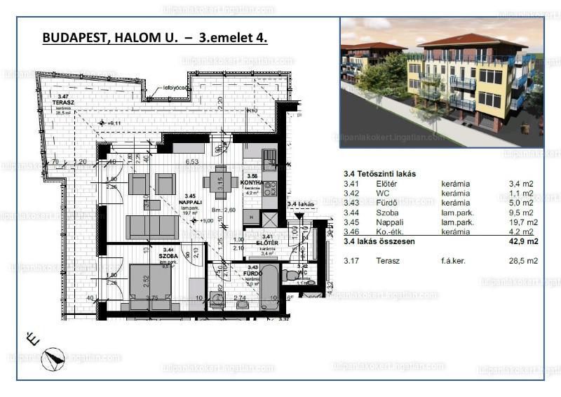 Tulipán Lakókert 1BB épület - 1 + 1 szoba erkéllyel