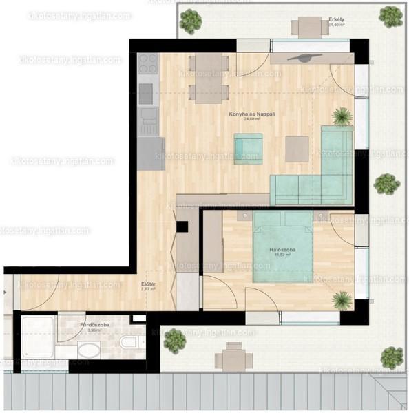 Kikötő sétány apartmanok - 2 szoba erkéllyel
