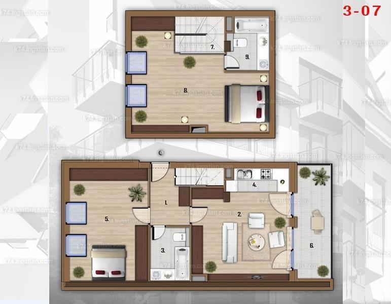 K74 - 3 szoba erkéllyel