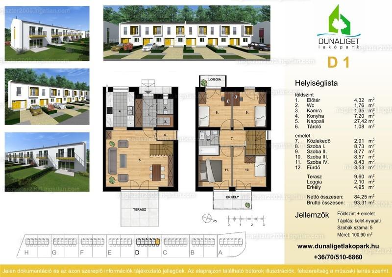 Dunaliget lakópark - 1 + 4 szoba