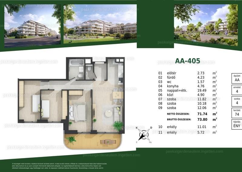 Paskal Garden A.ütem - 2 + 2 szoba erkéllyel