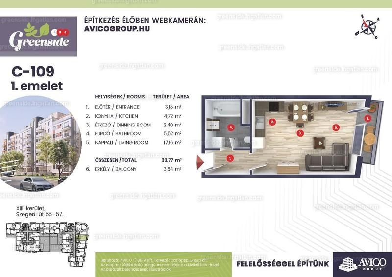 Greenside - 1 szoba erkéllyel