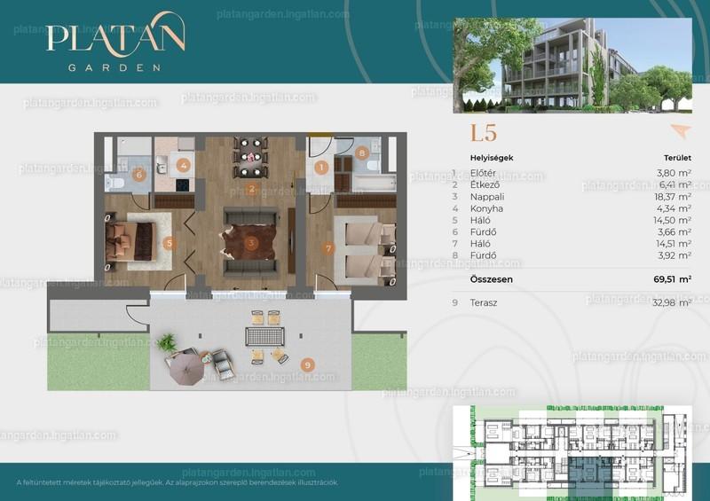 Platán Garden - 3 szoba kertkapcsolattal
