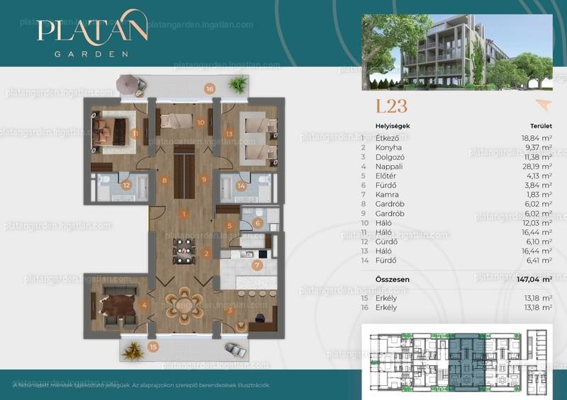 Platán Garden - 6 szoba erkéllyel