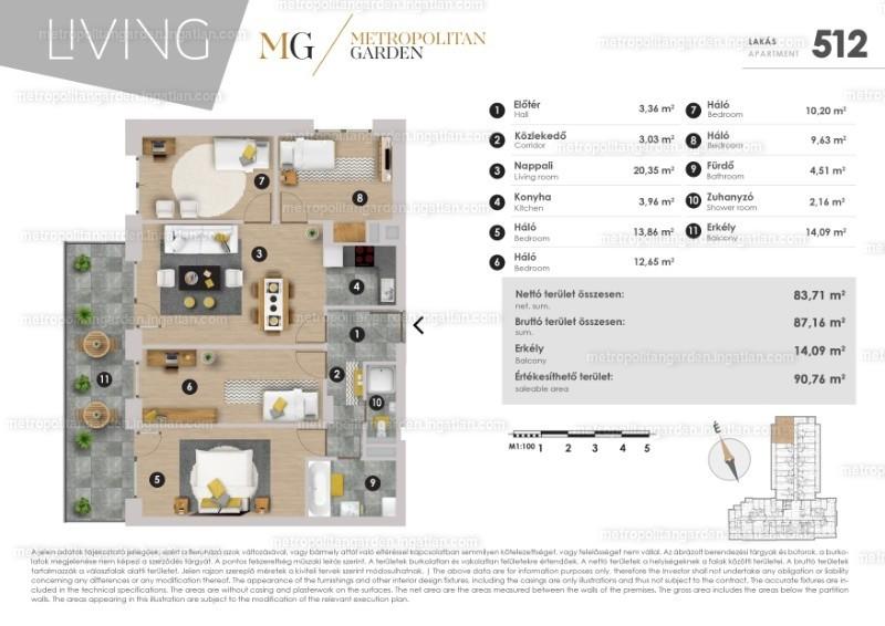 Metropolitan Garden - 5 szoba erkéllyel