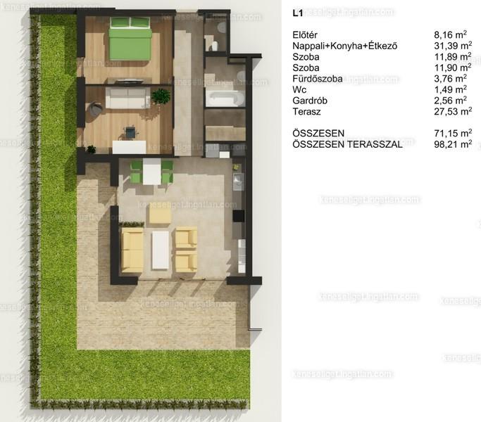 Prémium Residence Kenese - Liget - 3 szoba erkéllyel