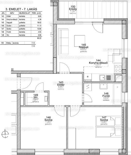 BRSS106 - 3 szoba erkéllyel