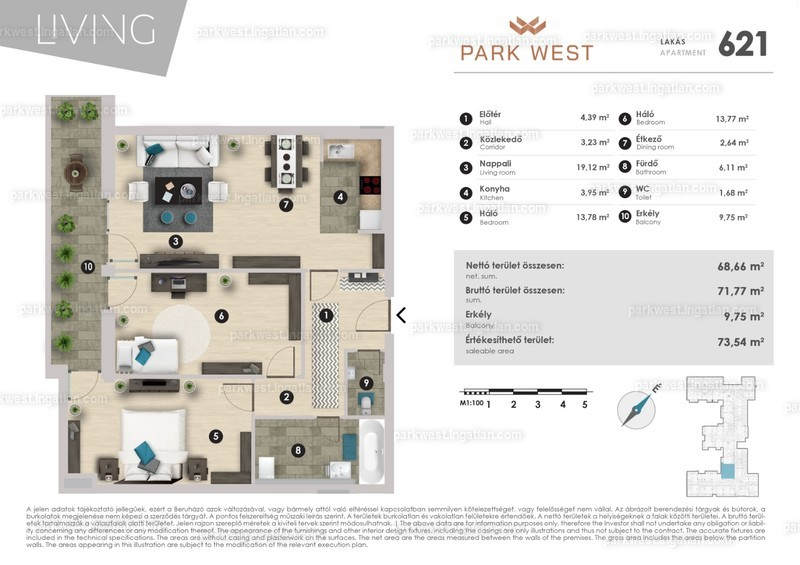 Park West - 3 szoba erkéllyel