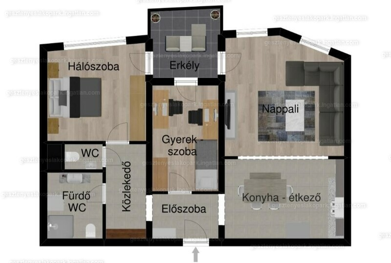 Gesztenyés lakópark - 3 szoba kertkapcsolattal