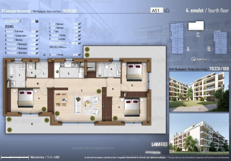 Izzó Garden 2 - 4 szoba erkéllyel