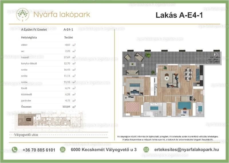 Nyárfa lakópark I. ütem - 4 szoba erkéllyel