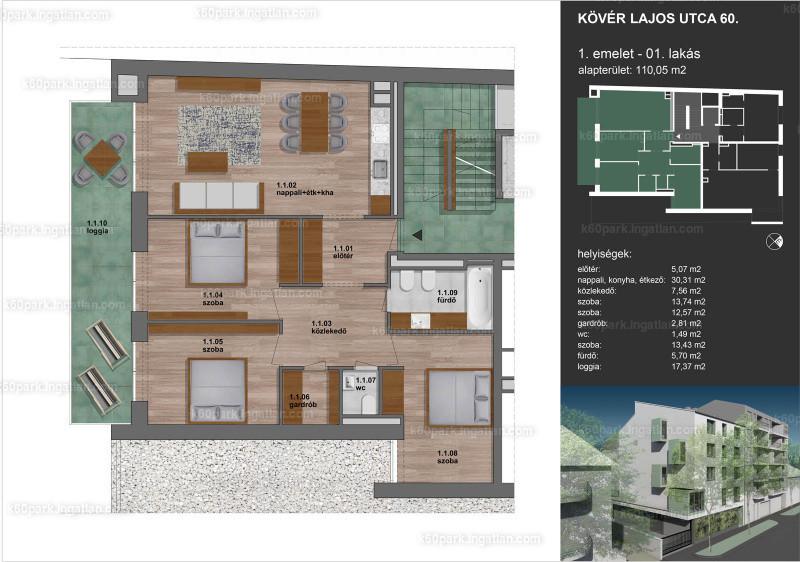 K60 Park Zugló - 4 szoba erkéllyel