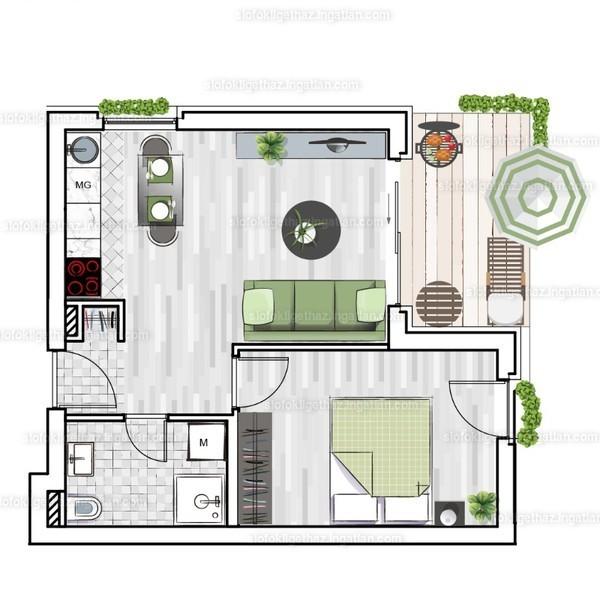 Siófok Liget Ház (Megyer) - 2 szoba erkéllyel