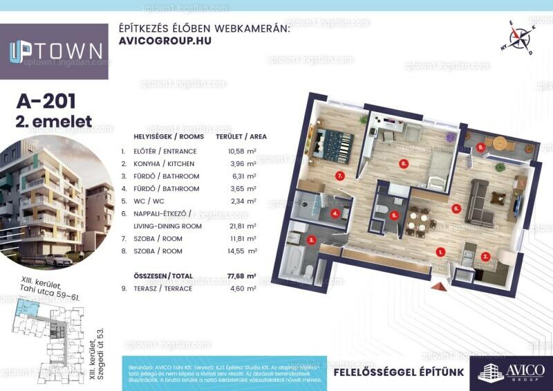 Uptown 1.ütem - 3 szoba erkéllyel