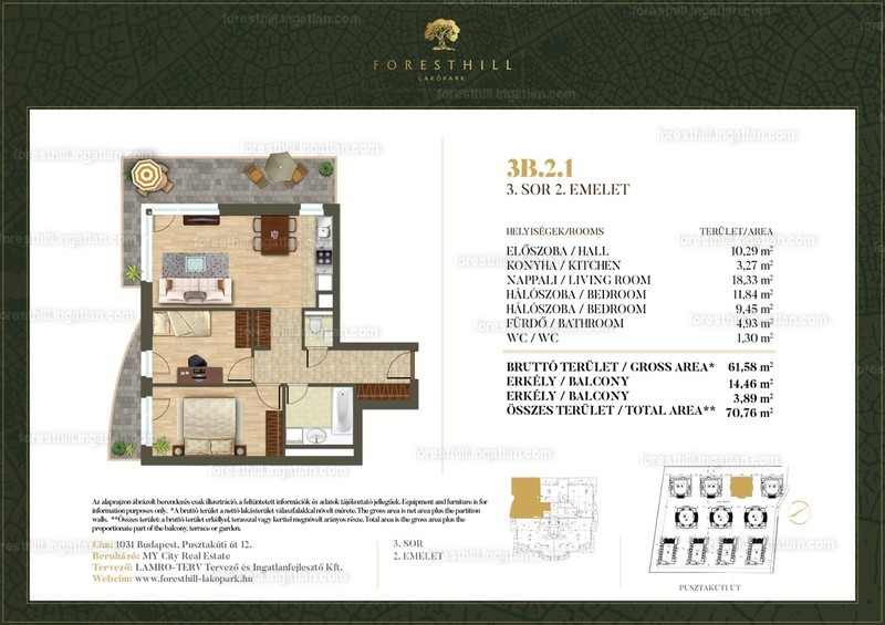 Forest Hill - 3 szoba erkéllyel
