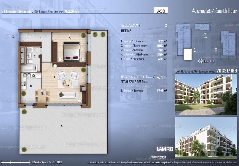 Izzó Garden 2 - 2 szoba erkéllyel