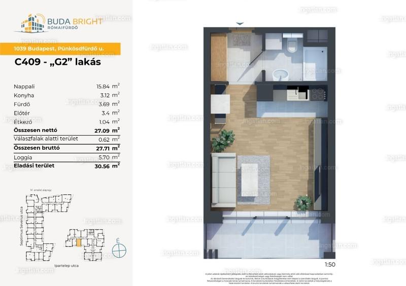 BudaBright Lakópark - 1 szoba erkéllyel