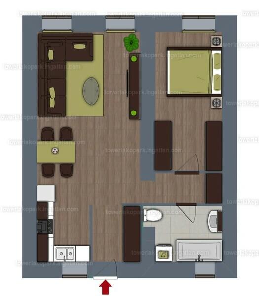 Tower Lakópark - 2 szoba