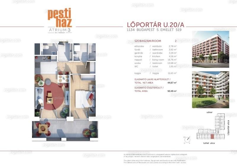 Pesti Ház - Átrium 3 - 2 szoba erkéllyel