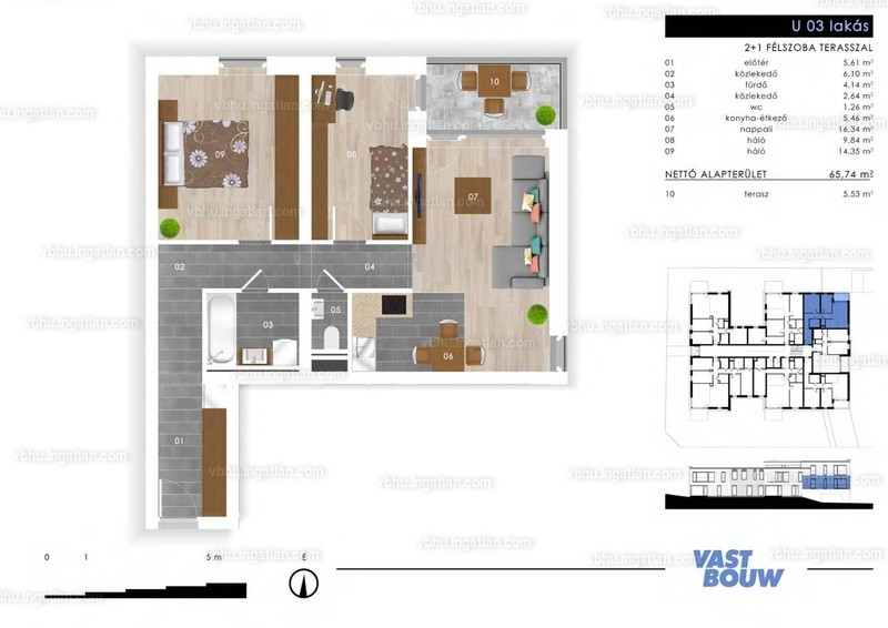 Zöld Sziget Lakások - 3 szoba erkéllyel