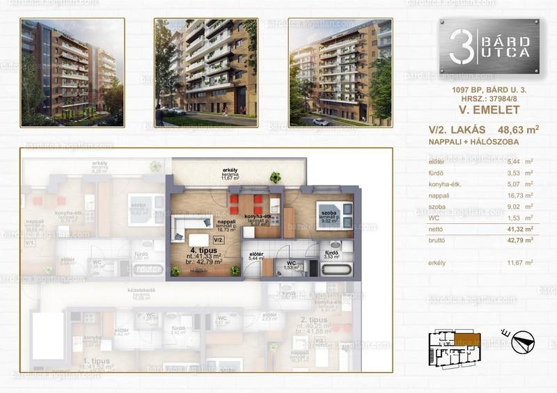 Bárd utca 3 - 2 szoba erkéllyel