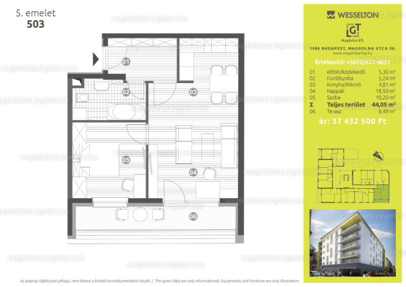 Magdolna ház - 2 szoba erkéllyel