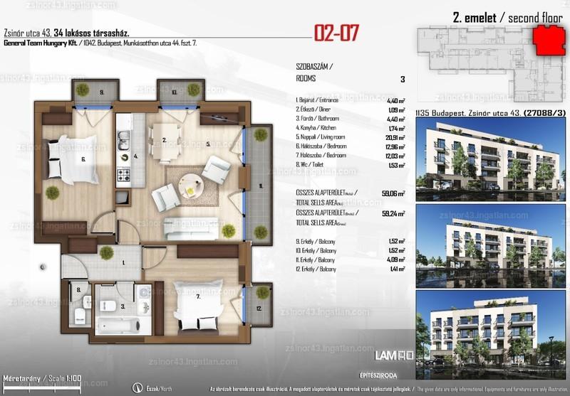 Zsinór 43 - 3 szoba erkéllyel