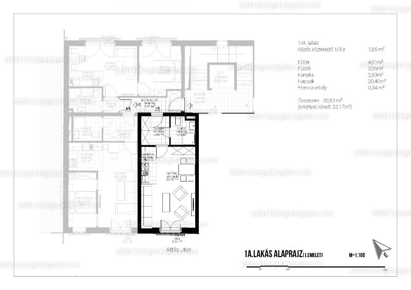 Attila13 Társasház - 1 szoba erkéllyel