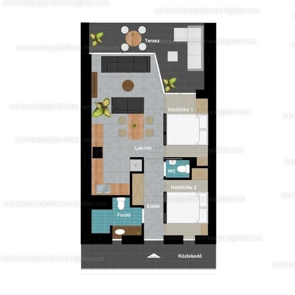 1 + 2 szoba erkéllyel
