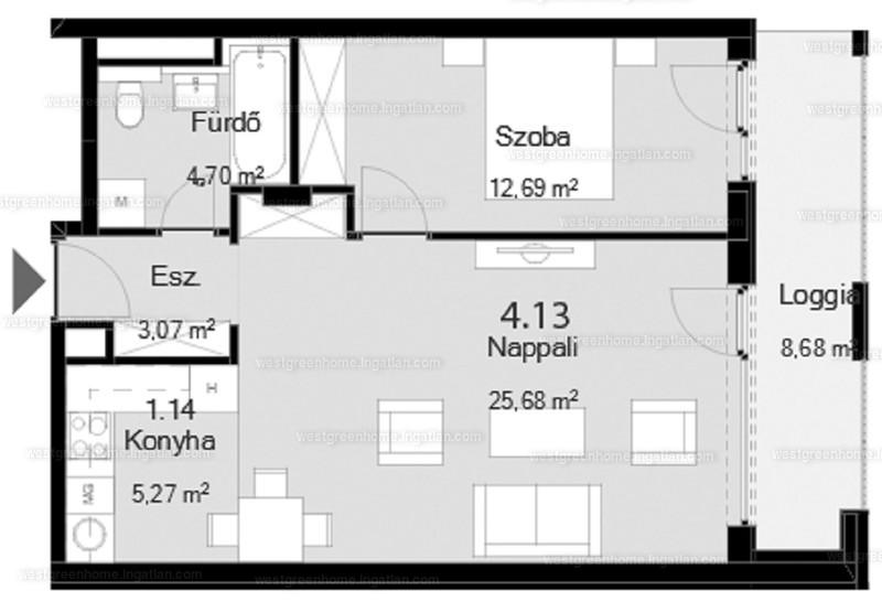 West Green Home - 2 szoba erkéllyel