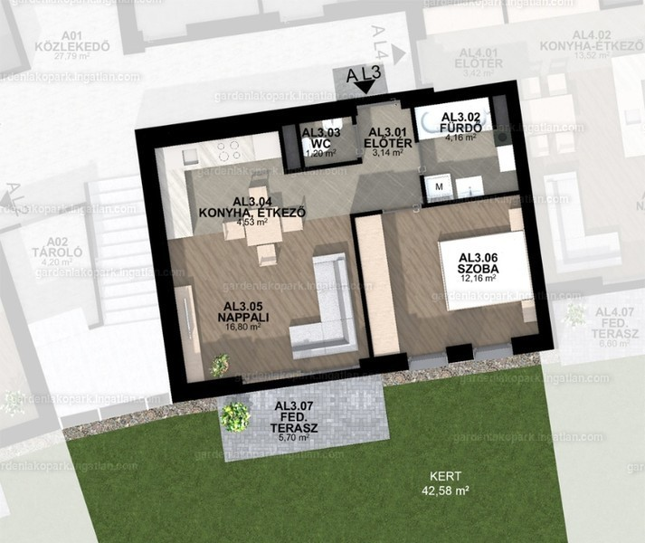 Garden Lakópark - 2 szoba kertkapcsolattal