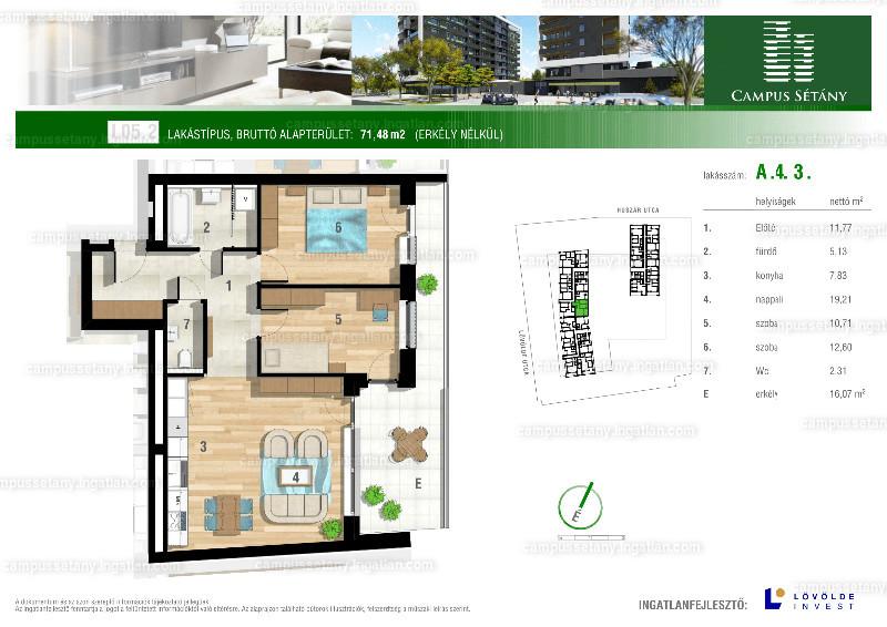 Campus Sétány - 2 + 1 szoba erkéllyel