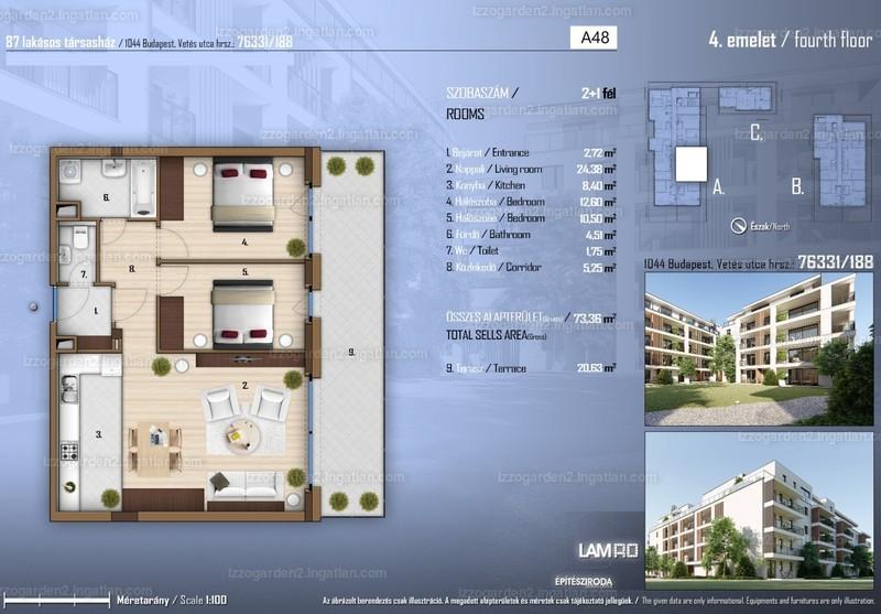 Izzó Garden 2 - 3 szoba erkéllyel