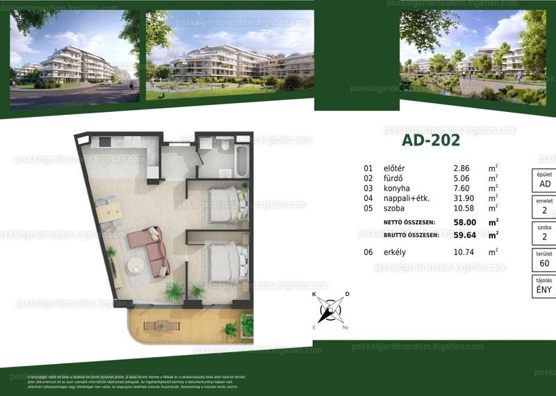 Paskal Garden A.ütem - 1 + 1 szoba erkéllyel