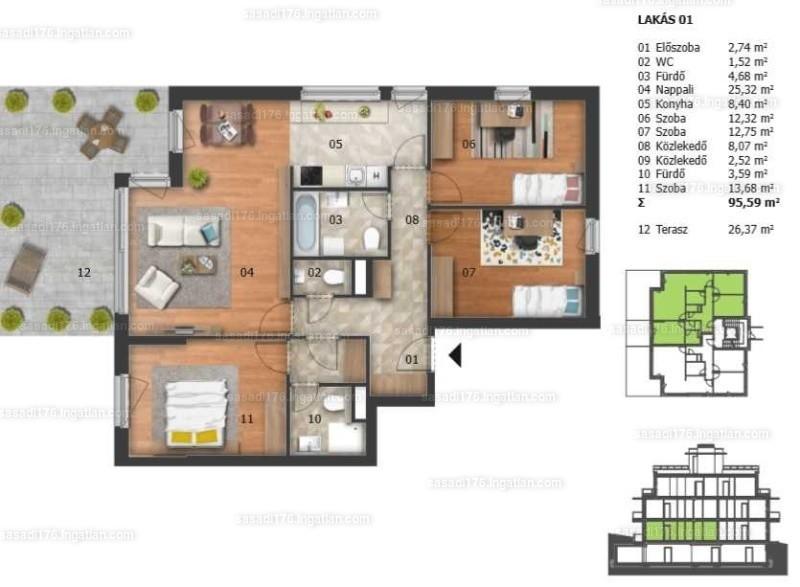 Sasadi176. - 4 szoba erkéllyel