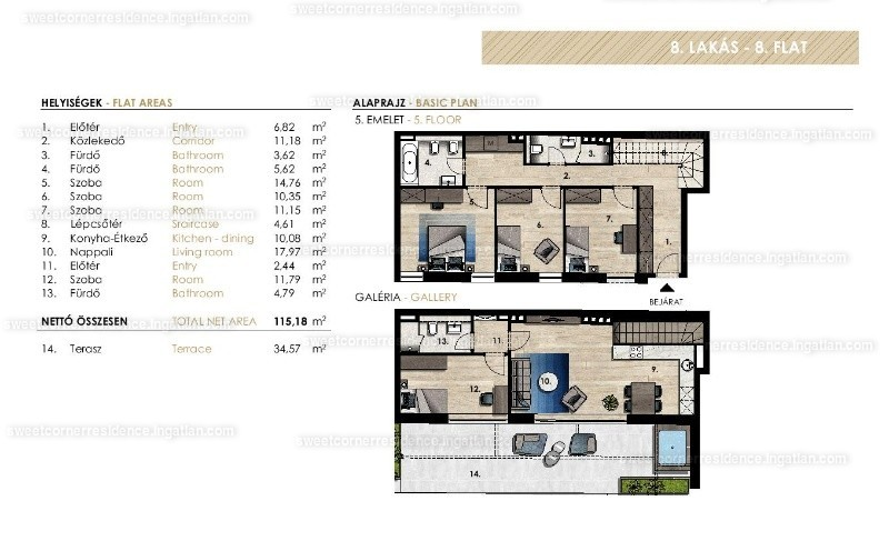 5 szoba erkéllyel