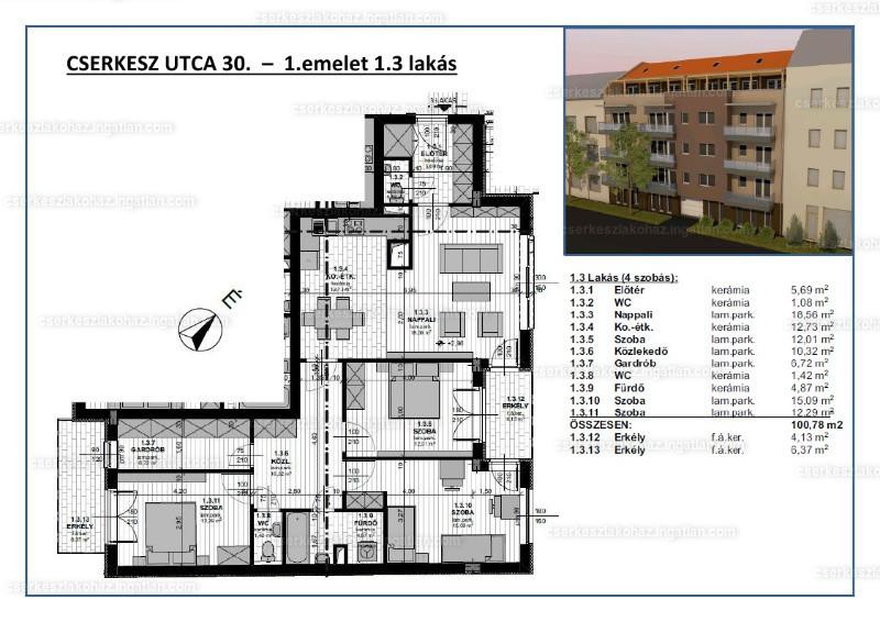 Cserkesz Lakóház - 4 szoba erkéllyel