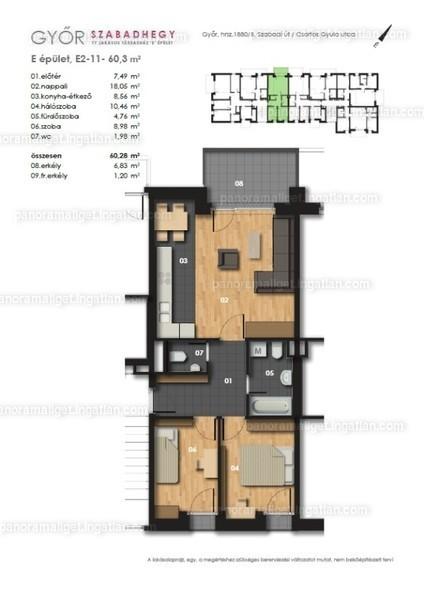 Panoráma Liget - 3 szoba erkéllyel