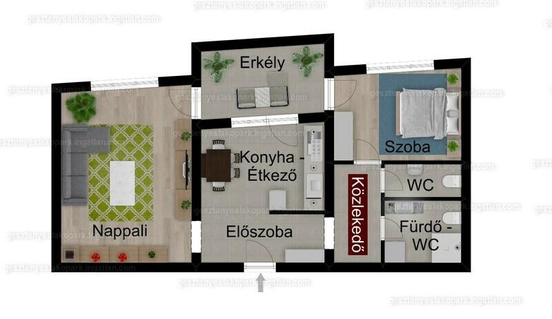 Gesztenyés lakópark - 2 szoba erkéllyel