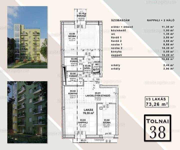 Tolnai 38 - 3 szoba erkéllyel