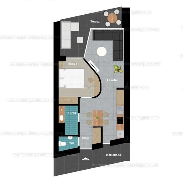 Marina Sétány Penthouse - 2 szoba erkéllyel