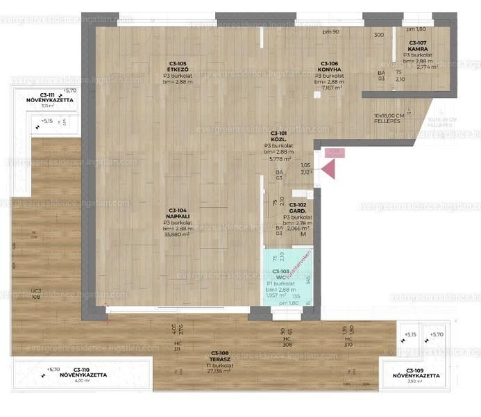 Evergreen Residence - 3 szoba erkéllyel