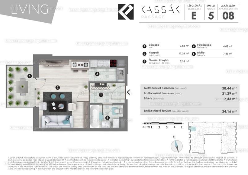 Kassák Passage - 1 szoba erkéllyel