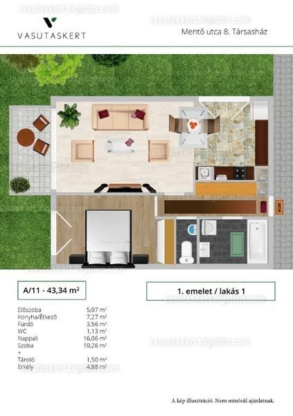 Vasutaskert - 2 szoba erkéllyel