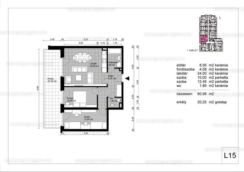 Szarvasugrás Lakópark - 3 szoba erkéllyel